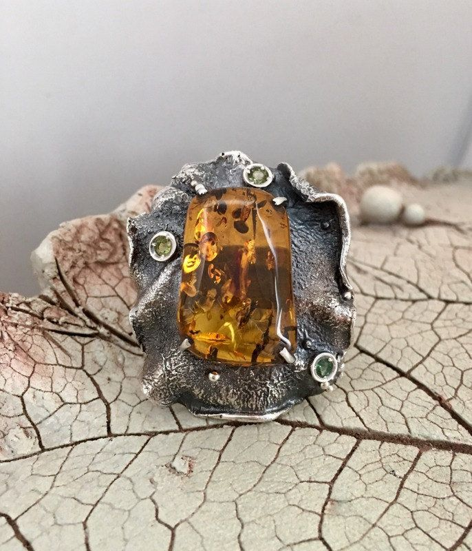AMBER RING, Statement Ring, Handcrafted Ring, Gemstone Ring, Artisan Ring, 925 Sterling Silver by AlenaZenaJewelry on Etsy