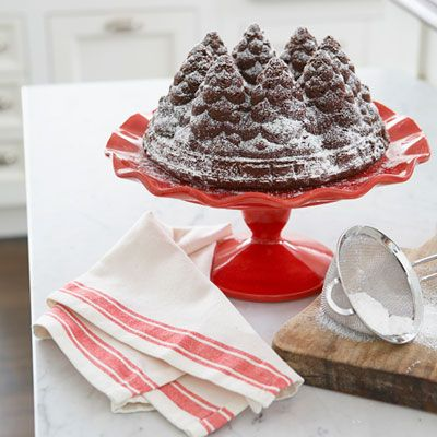 How Swede It Is  A dusting of powdered sugar subs for just-fallen snow in this forest of Chocolate Gingerbread Cake.  Platinum holiday tree Bundt pan, $31, Nordicware; nordicware.com.