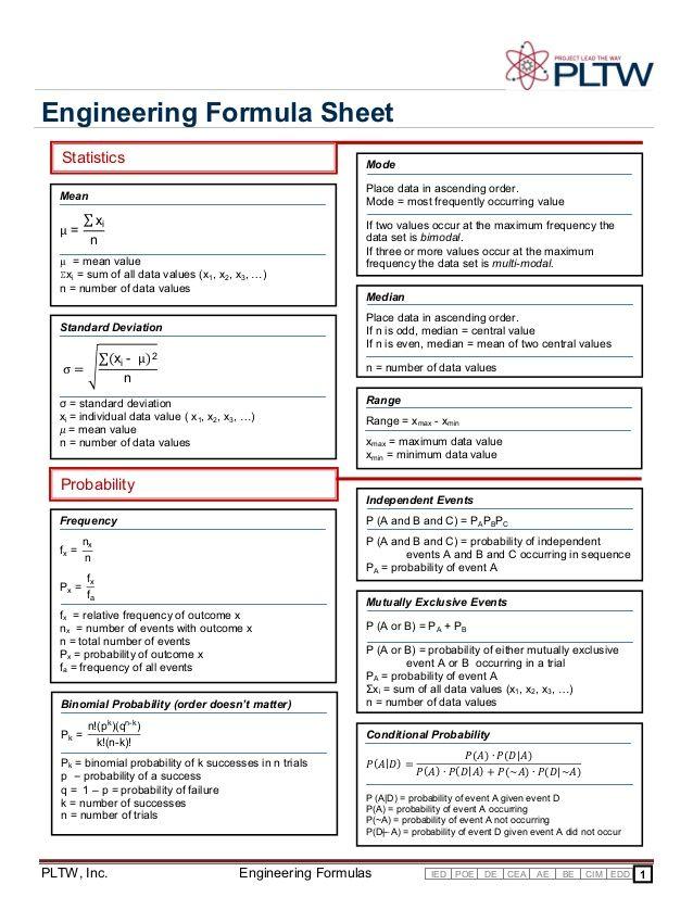 engineering formula sheet statistics mode mean place data. Black Bedroom Furniture Sets. Home Design Ideas