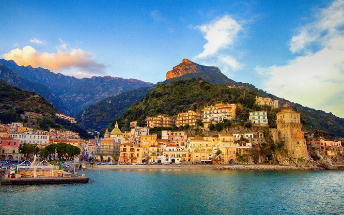 Hämta bilder Positano, kusten, sunset, havet, sommar, Italien