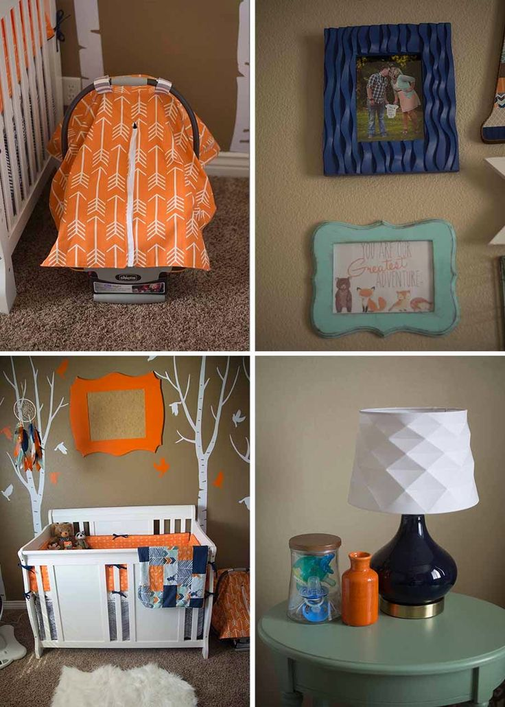 Baby Boy Woodland Nursery, Fox Nursery, Tribal Nursery, baby nursery, orange & navy nursery,