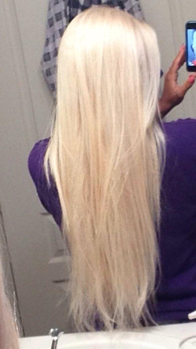 My platinum blonde hair Long hair
