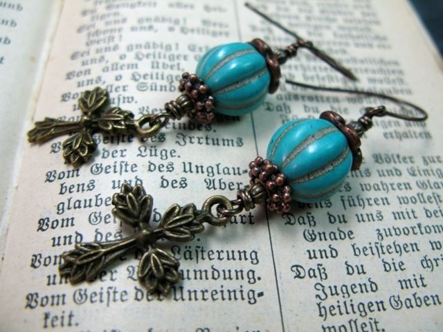 turquoise and bronze cross earrings