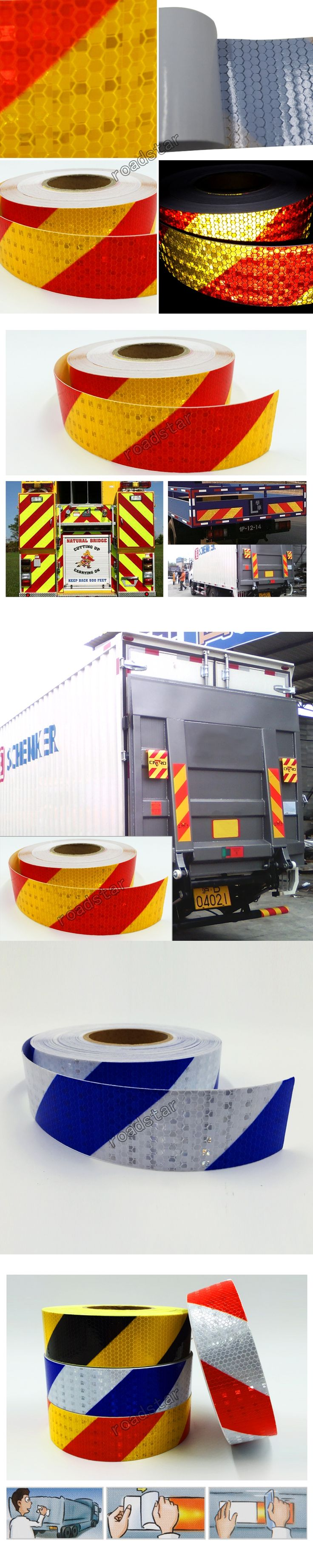 50mm X 50m Reflective Tape Stickers Auto Truck Pickup Safety Reflective Material Film Warning Tape Car Styling Decoration
