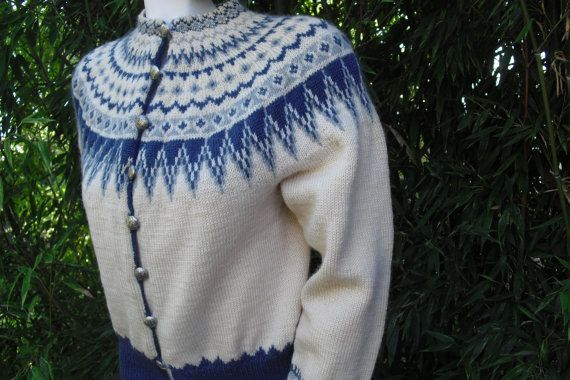 Norwegian Hand Knit Wool Sweater With Pewter