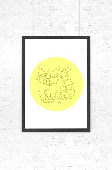 By Tinit – Grafisk illustration - Racoon Dot - Gul  #illustration#bytinit#børneværelse#vaskebjørn#gul