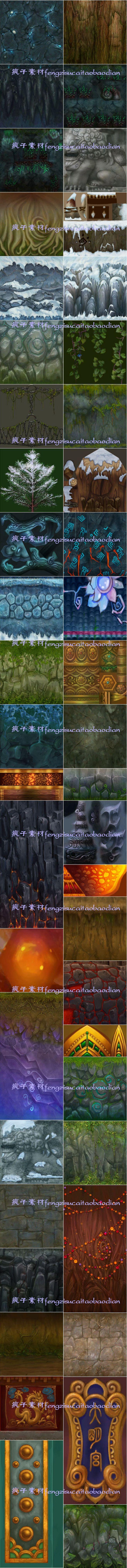 游戏美术资源手绘Q版卡通风格3D场景山石...