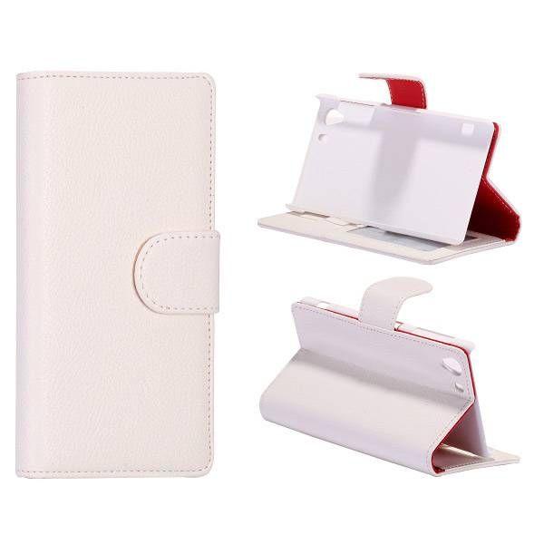 Wit lychee bookcase hoesje voor Sony Xperia Z1