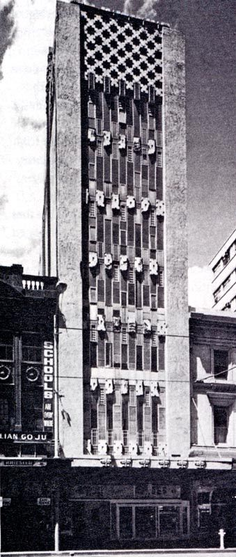 Leonard House, 44-46 Elizabeth Street. Designed by Walter Burley Griffin, completed in 1924 and demolished after fire damage in 1976.