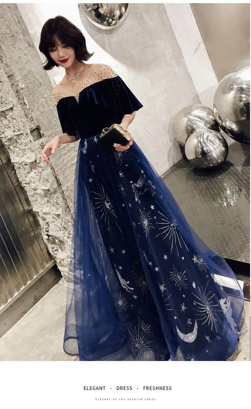 5feada7176 Evening dress female 2018 new banquet noble elegant long section slimming  dress small dress temperament host fairy