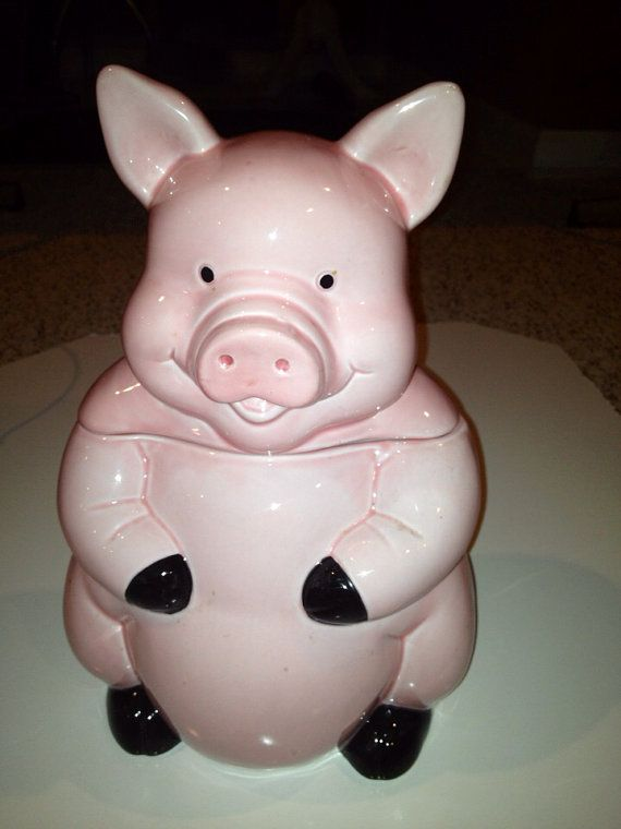Vintage pink pig cookie jar collectible by Misalash on Etsy, $35.00