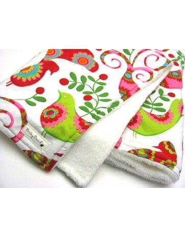 Retro Bird Designer Cotton & Minky Blanket