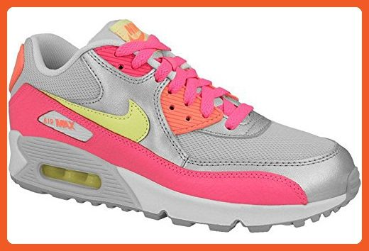 Nike Kid's Air Max 90 Mesh GS, PURE PLATINUM/LIQUID LIME-MTLLC SILVER-PINK, Youth Size 5.5 - Sneakers for women (*Amazon Partner-Link)