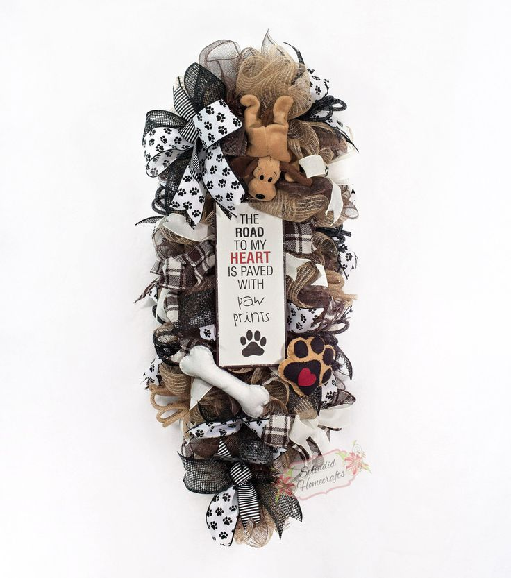 Dog Wreath Door Swag Dog Mesh Wreath Pet Wreath Everyday Wreath Animal Wreath Animal Lover Wreath Dog Home Decor