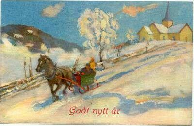 Nyttårskort - Hest og slede forlater kirke  Utg Oppi Serie 596/3 stemplet 1951