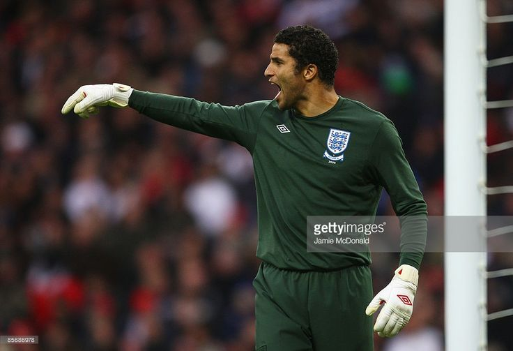 Goalkeeper David James of England shouts instructions during the International Friendly match between England and Slovakia at Wembley Stadium on March 28, 2009 in London, England.
