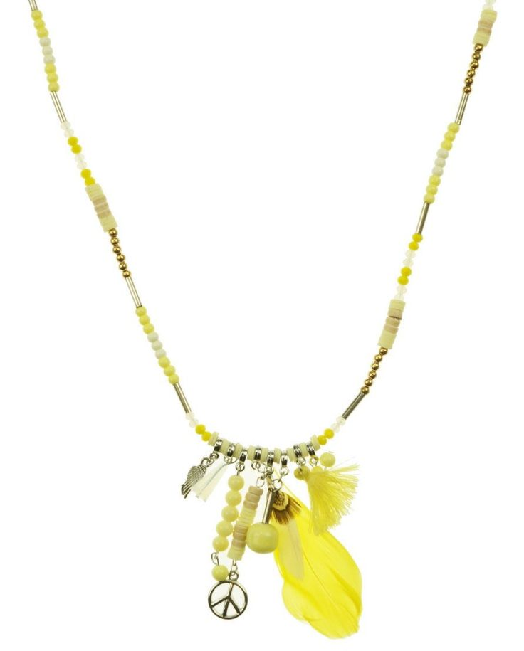 80cm Necklace with yellow colouring and feathers and peace sign on the bottom of the necklace. $16.50