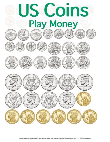 Customizable and Printable Play Money - United States Coins