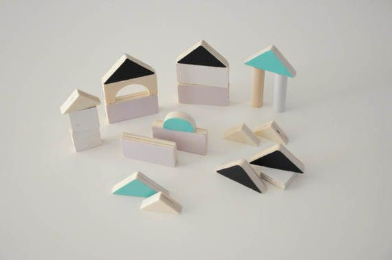 Wooden 22 blocks in monochrome colours / Wooden toys / Baby gift / Toddler gift / Eco wooden friendly toys / Children wooden toys