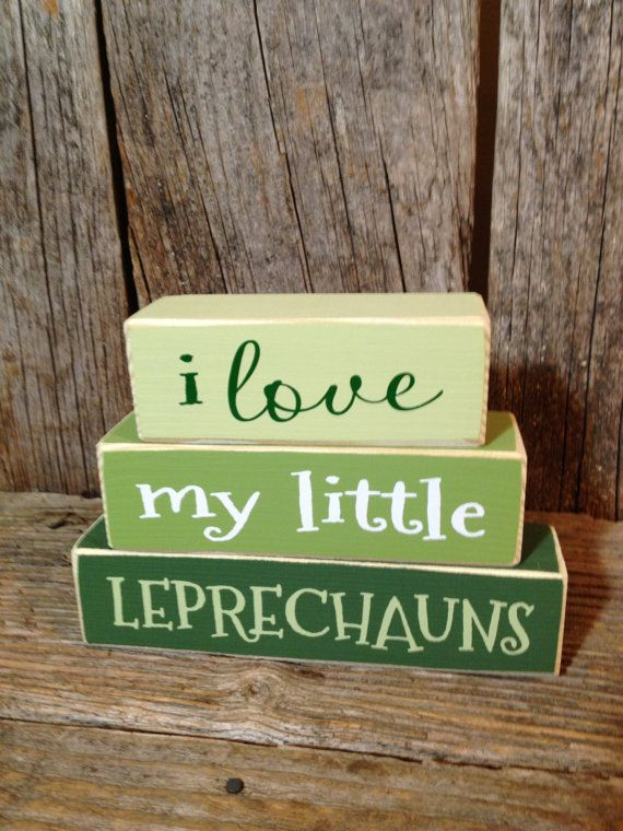 I love my little LEPRECHAUNS mini stacker wood block set home family cute funny st. patricks day decor