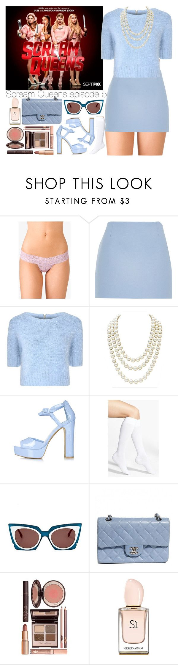 """Scream Queens episode 5."" by outfitsbynina9 ❤ liked on Polyvore featuring Forever 21, River Island, Glamorous, Chanel, Topshop, Nordstrom, Fendi and Charlotte Tilbury"