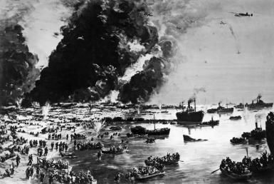 How the British Army Was Saved at Dunkirk: The Evacuation of Dunkirk as painted by Charles Cundall, Dunkirk, France, June 1, 1940.