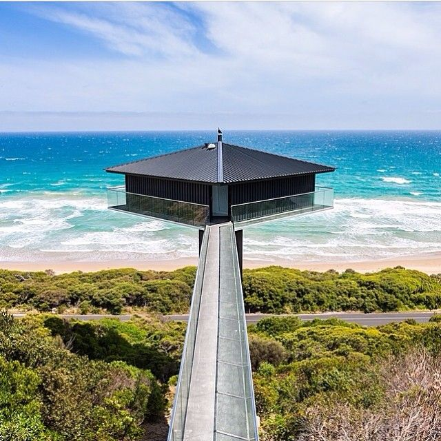 This house can be rented as a holiday house. The Pole House, Fairhaven beach, Melbourne, Australia. Designed by F2 Architecture