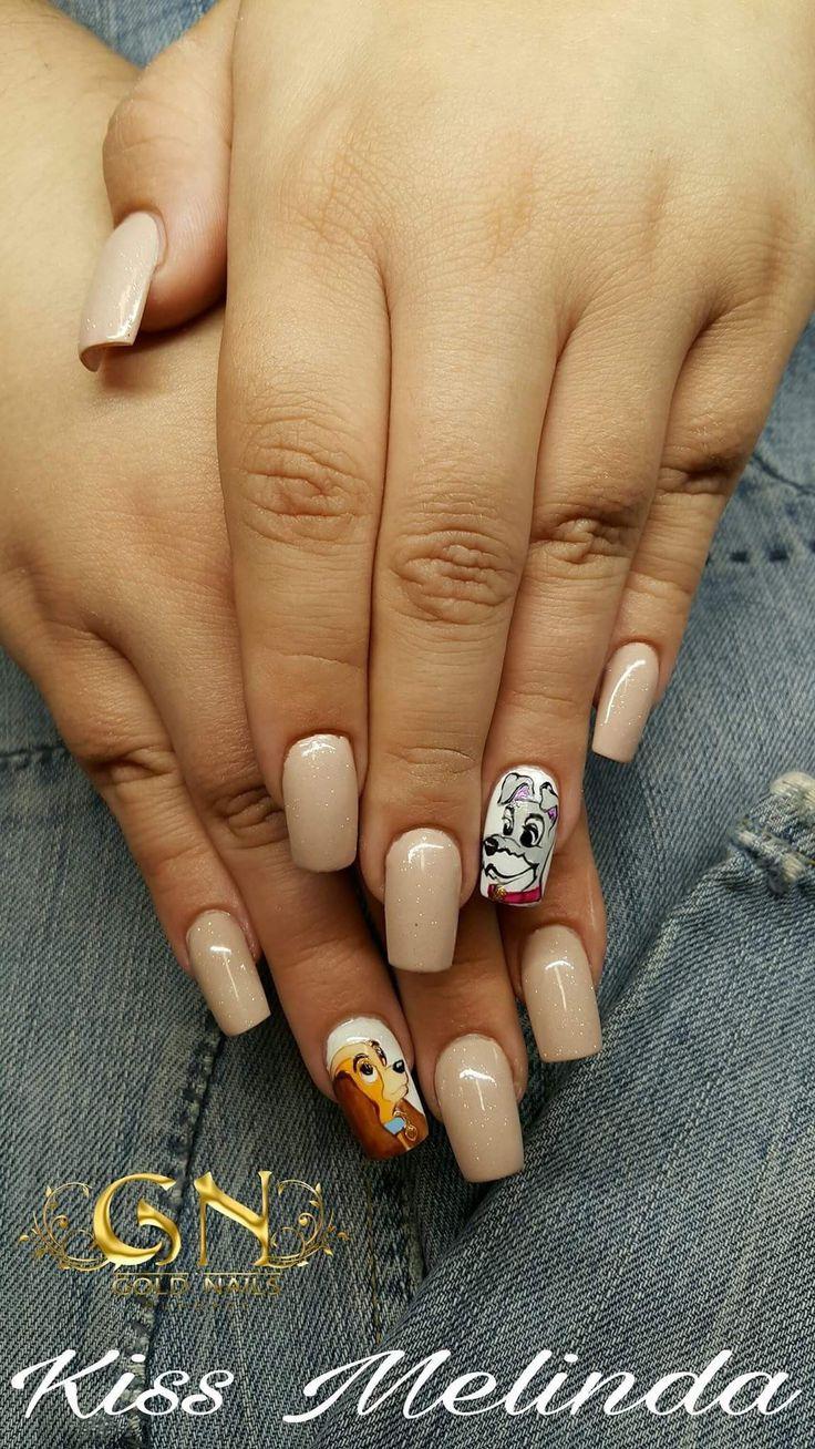 Kiss Melinda munkája #dogs #ladyandthetramp @melindanailartist #GoldNails #nailartproducts #nailart #nailartwow #nailstagram #nail #nailstyle #nailsystem