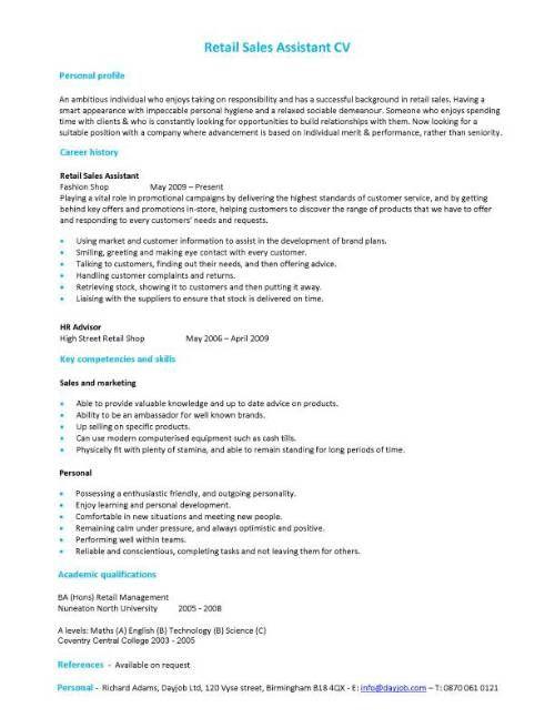 cv for retail sales assistant