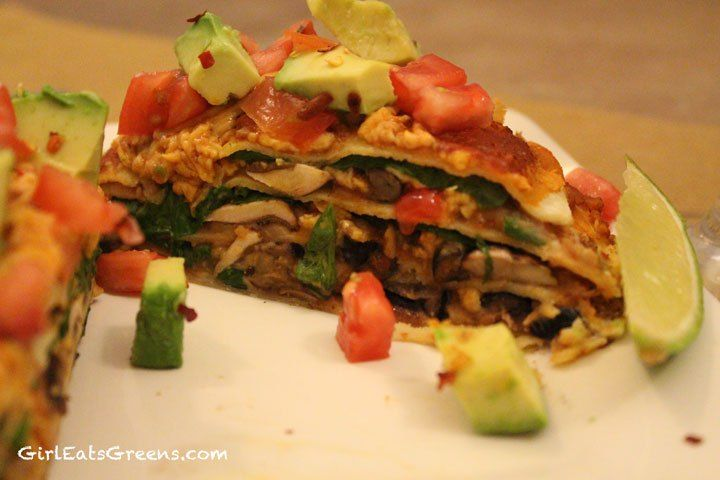 Mexican Lasagna - vegan, gluten free with black beans, refried beans ...