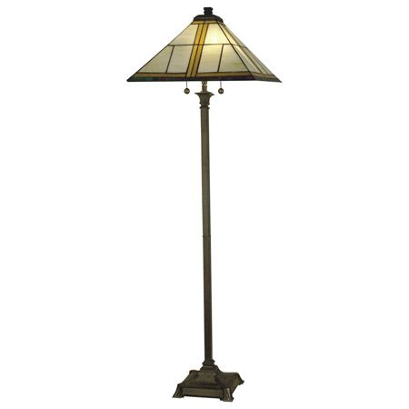 Simple craftsman floor lamp in white and amber glass.