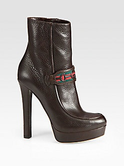 Gucci - Athina Platform Leather Ankle Boots