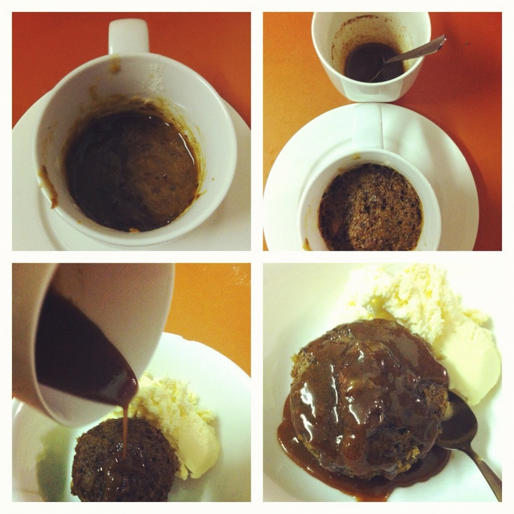 justfordaisy: Sticky Date Pudding in a Mug! Dessert for one is served