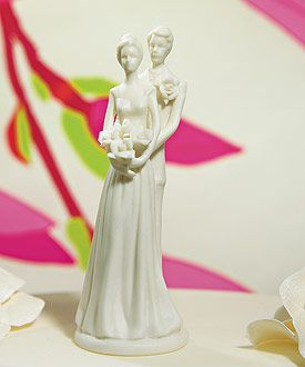 This is a nice simple elegant wedding cake topper and I love it that its a white porcelain bisque material. Perfect for my day!