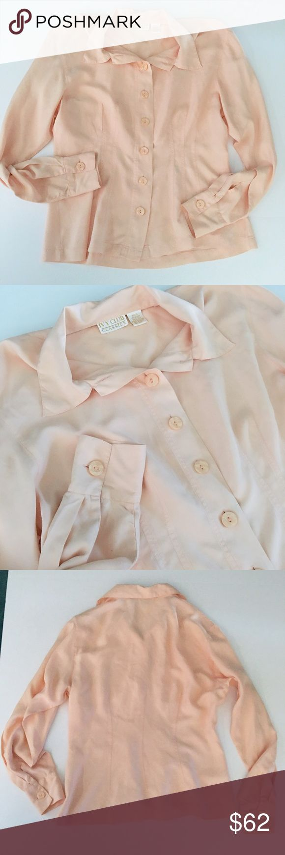 Peach 100% Silk Button-Down Peach 100% Silk Long-Sleeve Button-Down // sz L // Ivy Club Classics brand // super amazingly soft and Flowy // slimming darting on front and back // perfect to put under a blazer for work // non-smoking home // measurements available upon request // not my size. Can't model. // Offers Welcome! // 20% off 3+ Bundles // 10.29.34. {career wear/office/work attire/business wear/business casual/job clothes} Ivy Classics Tops Button Down Shirts