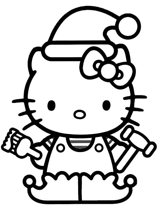 Hello Kitty Wearing A Hat On Christmas Day Coloring Pages