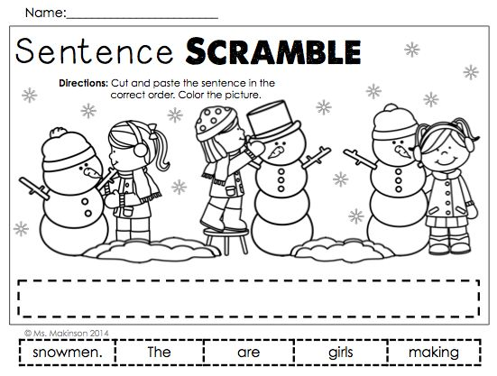 january printables first grade literacy and math printables winter and sentences. Black Bedroom Furniture Sets. Home Design Ideas