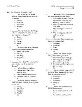 This is a unit test on George Orwell's novella, Animal Farm. It is designed for a 10th grade class and assesses students on both the plot of the novel and its allegorical meaning relating to the Soviet Union. An answer key is included. For full unit materials, see my unit bundle in my store which includes this test, homework ideas, lecture notes, and Socratic Seminar