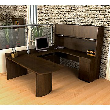 New Executive Reversible U-Shape Wood Office Set with Hutch Office Furniture