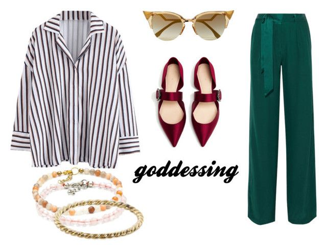 Goddessing by mysticalone-com on Polyvore featuring polyvore fashion style Equipment Luna Skye Fendi clothing