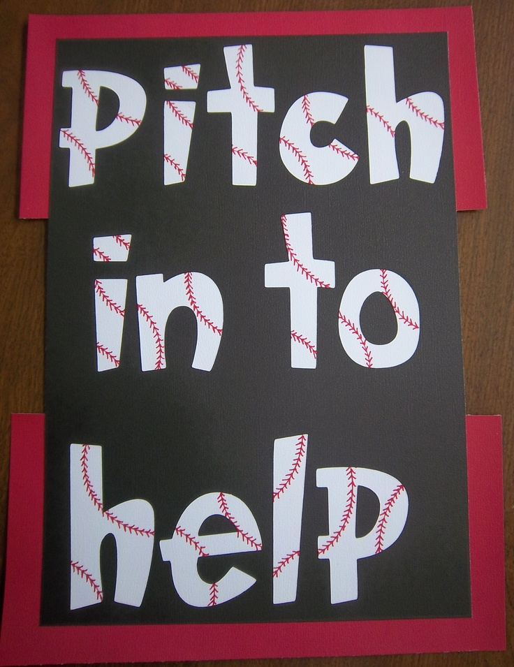 "Bulletin Board - Baseball theme - ""Pitch In To Help""have donations written on baseballs for parents to take to help with supplies."