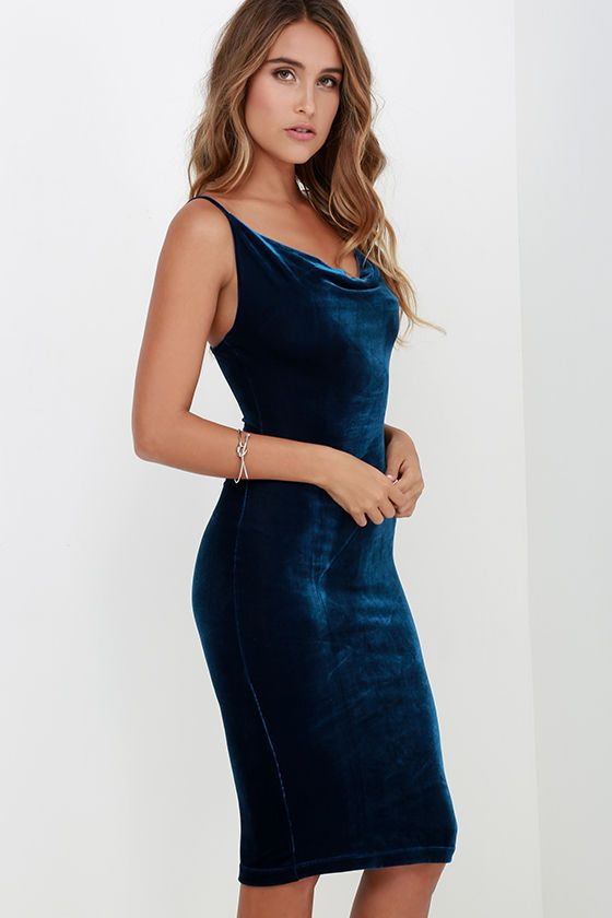The Jazzy Belle Blue Velvet Dress is worthy of a catwalk and a crowd! See for yourself as the soft, velvet knit fabric shapes a sexy cowl neckline and elastic back below rounded shoulder straps. Bodycon skirt creates a bold finish ending at a flattering midi length.