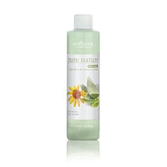 Oriflame Pure Nature Organic Aloe Vera & Arnica Extract Soothing Face Wash (18918) - Gently removes traces of make-up and skin sebum, helping to soothe the skin. Contains natural aloe vera and arnica extracts rich in vitamins and minerals. For all skin types, especially sensitive. 150 ml.
