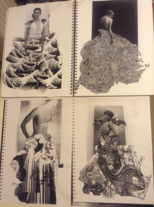Fashion Sketchbook - fashion design research & development for a paper dress project; fashion portfolio // Anna Ackred