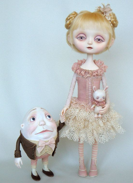 Pink Alice & Humpty Art Dolls by Ana Salvador Love these!!!!!!!!!!!!!!!  Reminds me of Mark Ryden paintings... my favorite :-)