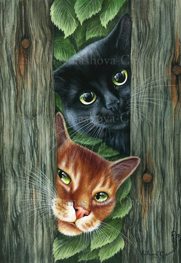 "ART/ ILLUSTRATION~ ""What's Going On?"" Asked The Peeping Tom  ~ Irina Garmashova"