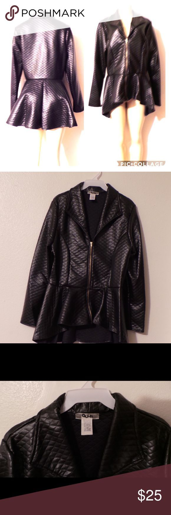 Plus Size Peplum Checkered Stitch Coat in Black Size 1X is pictured in photo. Black faux leather jacket with checkered stitching that zips down the front. Jackets & Coats