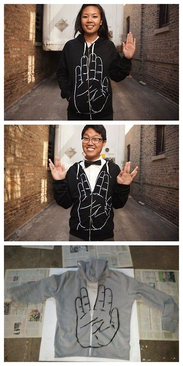 """DIY Star Trek """"Live Long and Prosper"""" Hoodie. This is officially the nerdiest and best thing I have ever pinned!"""