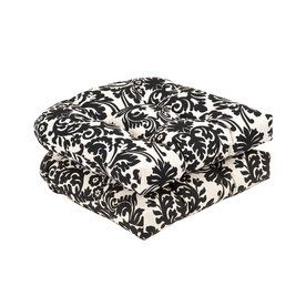 Pillow Perfect Essence Black Beige Damask Seat Pad For Universal 35332