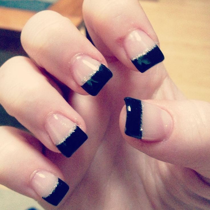 Black French tip gel with silver glitter line - Best 25+ Gel French Tips Ideas On Pinterest Gel French Manicure